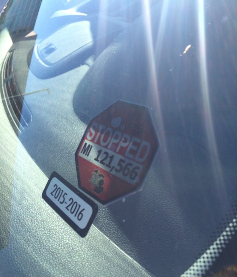 Stopped sticker at WO