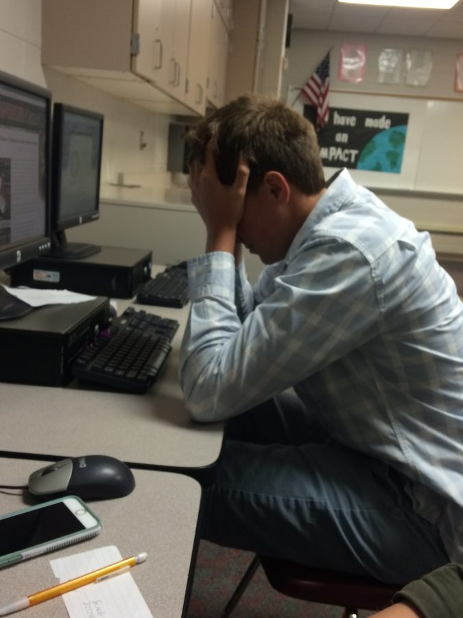 Justin Anair, Junior here at WO, visibly stressed out