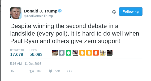 A tweet by Donald Trump after the second debate.