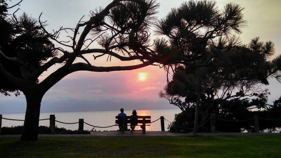 Sunset+Walk+Beach+Romantic+Date+Bench+Couple