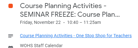 Seminar freezes need to be thawed